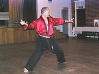 Sifu Hardy demonstrating Plum Blossom, with a live blade of course.