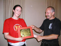 Deborah Patrick - winner of the 2005 Niket Rewal Award for student best demonstrating the Way of the White Dragon. Congratulations!!