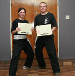 Sally and Jeremy - able to smile after their grading.
