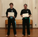 Scott Savage and a temporarily bearded Michael O'Connor after their grading to, respectively, Blue and Green Sash