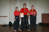 Wasu Bean, Sifu Bellchambers and Wasu Hardy with their medals and trophies - well done all!!