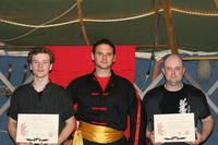 Scott, Shr Fu Bellchambers, and Grant - by the sweat marks, not long after the grading!