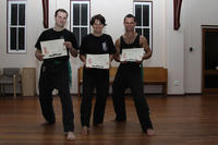 Nathan, Elinor and Simon after their gradings!