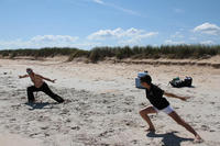 Beach training 2 - Grandmaster Hardy (Pai Lung Tsai Hsia) and Pai Feng Huang working on Northern Shaolin