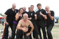 The Fire Dragon team. L - R: Master Bellchambers, Elinor Jesan, Doug Hovi, Grandmaster Hardy, Kaye Buchanan, Sifu Wells, Wasu Kilimnik and Graeme Quinn