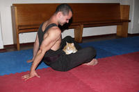 Simon teaching meditation to a natural student